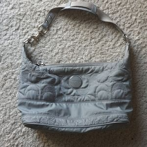 Coach classic gray quilted nylon satchel